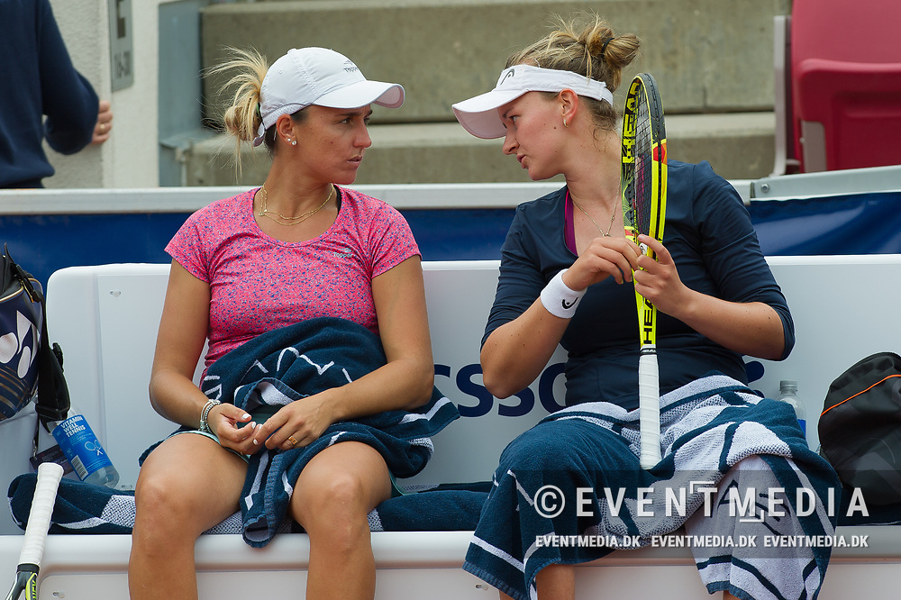 María Irigoyen (Argentina) and Barbora Krejcikova (Czech Republic) at the 2017 WTA Ericsson Open in Båstad, Sweden, July 30, 2017. Photo Credit: Katja Boll/EVENTMEDIA.