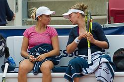 María Irigoyen (Argentina) and Barbora Krejcikova (Czech Republic) at the 2017 WTA Ericsson Open in Båstad, Sweden, July 30, 2017. Photo Credit: Katja Boll/EVENTMEDIA.