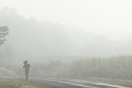 Wawayanda, New York  - A runner moves past corn fields on a foggy September morning. ©Tom Bushey / The Image Works
