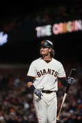 San Francisco Giants right fielder Jarrett Parker (6) reacts to a strike out against the Colorado Rockies at AT&T Park in San Francisco, California, on April 14, 2017. (Stan Olszewski/Special to S.F. Examiner)