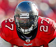 NOVEMBER 14, 2010, TAMPA, FL : Running Back LeGarrette Blount #27 of the Tampa Bay Buccaneers during the game against the Carolina Panthers at Raymond James Stadium on November 14, 2010 in Tampa, Florida. The Buccaneers won 31-16. (photo by Mike Carlson/Tampa Bay Buccaneers)