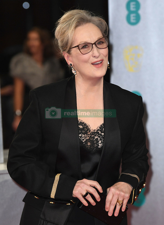 Meryl Streep attending the EE British Academy Film Awards held at the Royal Albert Hall, Kensington Gore, Kensington, London. Picture date: Sunday February 12, 2017. Photo credit should read: Doug Peters/ EMPICS Entertainment