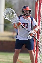 Virginia goalkeeper Lauren Benner (27).  The #2 ranked Virginia Cavaliers women's lacrosse team defeated the Penn State Nittany Lions 12-11 in overtime at Klockner Stadium on the Grounds of the University of Virginia in Charlottesville, VA on March 7, 2009.