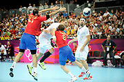 DESCRIZIONE : Handball Jeux Olympiques Londres Quart de Finale<br /> GIOCATORE : Accambray William FRA<br /> SQUADRA : France Homme<br /> EVENTO : FRANCE Handball Jeux Olympiques<br /> GARA : France Espagne<br /> DATA : 08 08 2012<br /> CATEGORIA : handball Jeux Olympiques<br /> SPORT : HANDBALL<br /> AUTORE : JF Molliere <br /> Galleria : France JEUX OLYMPIQUES 2012 Action<br /> Fotonotizia : France Handball Homme Jeux Olympiques Londres Quart de Finale Basketball Arena<br /> Predefinita :