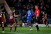 Peterborough United forward Ivan Toney (17) celebrates his goal while Bradford City's Paul Caddis (38) complains to the referee during the EFL Sky Bet League 1 match between Peterborough United and Bradford City at The Abax Stadium, Peterborough, England on 17 November 2018.