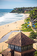 VARKALA, INDIA - 27th September 2019 - Ancient temple shrine on Papanasam Beach, Varkala Cliff Beach, Kerala, Southern India