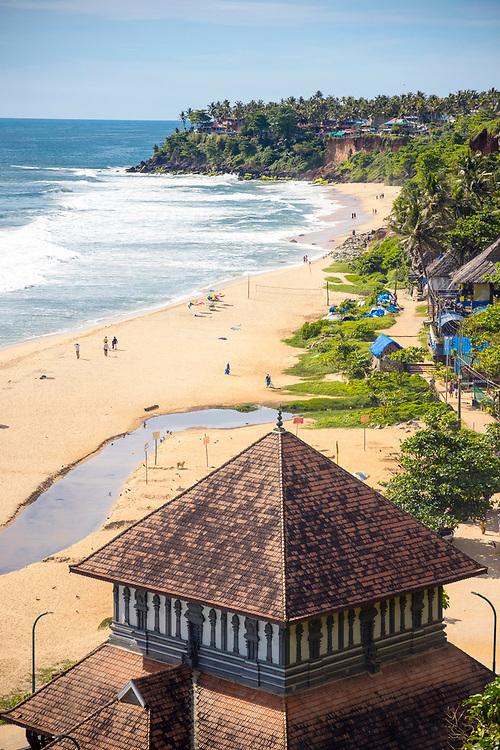 VARKALA, INDIA - 27th September 2019 - Ancient temple shrine on Papanasam Beach, Varkala Cliff Beach, Kerala, Southern India