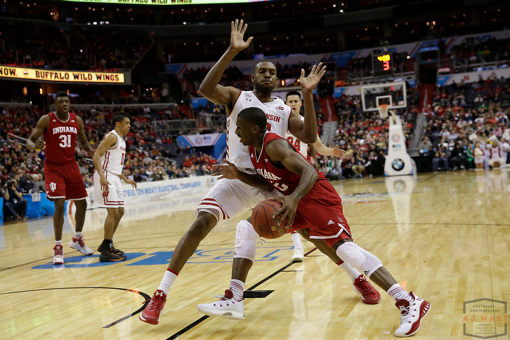 Indiana guard Josh Newkirk (2) in action as Indiana played Wisconsin in an NCCA college basketball game in the third round of the Big 10 tournament in Washington, D.C., Friday, March 10, 2017. (AJ Mast)