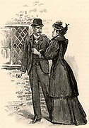 The Adventure of the Yellow Face'. Effie Grant Munro pleading with her husband, Jack, to trust her in spite of her suspicious behaviour. From 'The Adventures of Sherlock Holmes' by Conan Doyle from 'The Strand Magazine' (London, 1893). Illustration by Sidney E Paget, the first artist to draw Sherlock Holmes.  Engraving.
