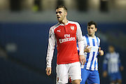 Arsenal U21 midfielder Callum Chambers during the Barclays U21 Premier League match between Brighton U21 and Arsenal U21 at the American Express Community Stadium, Brighton and Hove, England on 1 December 2015.