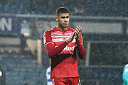 Ashley Fletcher (11) of Middlesbrough applauds the travelling fans at full time during the EFL Sky Bet Championship match between Queens Park Rangers and Middlesbrough at the Kiyan Prince Foundation Stadium, London, England on 9 November 2019.