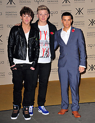 (LtoR) Dan Ferrari-Lane, Greg West of District 3 and Jahmene Douglas during the launch of the Kardashians' new clothing and handbag range for Dorothy Perkins, before it goes on sale in 250 stores across the UK, Aqua, London, United Kingdom, November 8, 2012. Photo by Nils Jorgensen / i - Images.