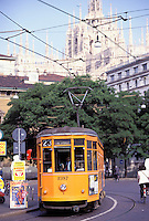 Tramway in the city center, Milan, Lombardia, Italy