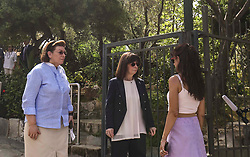 Pictured: president Sakelaropoulou Aikarerini (centre) is interviewed by the press as she visits the Acropolis<br /> The ancient Acropolis in Athens has reopened to the public today.  The vast site has restricted visitor numbers to 2,000 to enable appropriate social distancing to be in operation<br /> <br /> Dimitris Lampropoulos  | EEm 18 May 2020