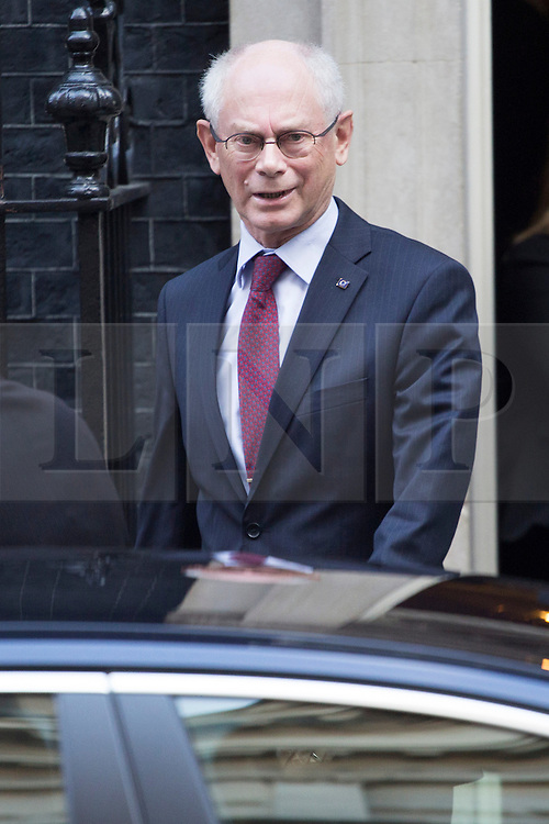 © licensed to London News Pictures. London, UK 08/10/2013. President of the European Council Herman Van Rompuy leaving Downing Street on Tuesday, 8 October 2013. Photo credit: Tolga Akmen/LNP