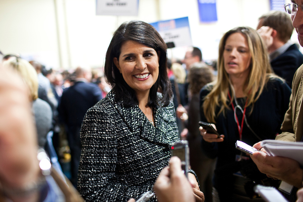 Governor Nikki Haley of South Carolina talks to reporters in the spin room following the WMUR/ABC News Debate at Saint Anselm College on Saturday, January 7, 2012 in Manchester, NH. Brendan Hoffman for the New York Times