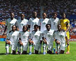 26.06.2011, Rhein-Neckar-Arena, Sinsheim, GER, FIFA Women´s Worldcup 2011, GRUPPE A, NIGERIA (NGA) vs FRANKREICH (FRA) , im Bild hvl. Perpetua NKWOCHA (NGA #4,Sunnana SWE) , Desire OPARANOZIE (NGA #9,Delta Queens) , Helen UKAONU (NGA #6,Sunnana SWE) , Onome EBI (NGA #5,Duvenciler Lisesi TUR) , Osinachi OHALE (NGA #3,Delta Queens) , Precious DEDE (NGA #1,Rivers Angels) , vvl. Stella MBACHU (NGA #7,Rivers Angels) , Glory IROKA (NGA #11,Rivers Angels) , Rita CHIKWELU (NGA #10,Umea SWE) , Ebere ORJI (NGA #8,Rivers Angels) , Faith IKIDI (NGA #14,Pitea SWE) ,   // during the FIFA Women´s Worldcup 2011, Pool A, Nigeria (NGA) vs France (FRA) on 2011/06/26, Rhein-Neckar-Arena, Sinsheim, Germany. EXPA Pictures © 2011, PhotoCredit: EXPA/ nph/  Roth       ****** out of GER / SWE / CRO  / BEL ******