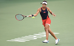 WUHAN, Sept. 28, 2018  Wang Qiang of China returns a shot during the singles semifinal match against Anett Kontaveit of Estonia at the 2018 WTA Wuhan Open tennis tournament in Wuhan, central China's Hubei Province, on Sept. 28, 2018. Anett Kontaveit advanced to the final after Wang Qiang withdrew due to injury. (Credit Image: © Xue Yubin/Xinhua via ZUMA Wire)