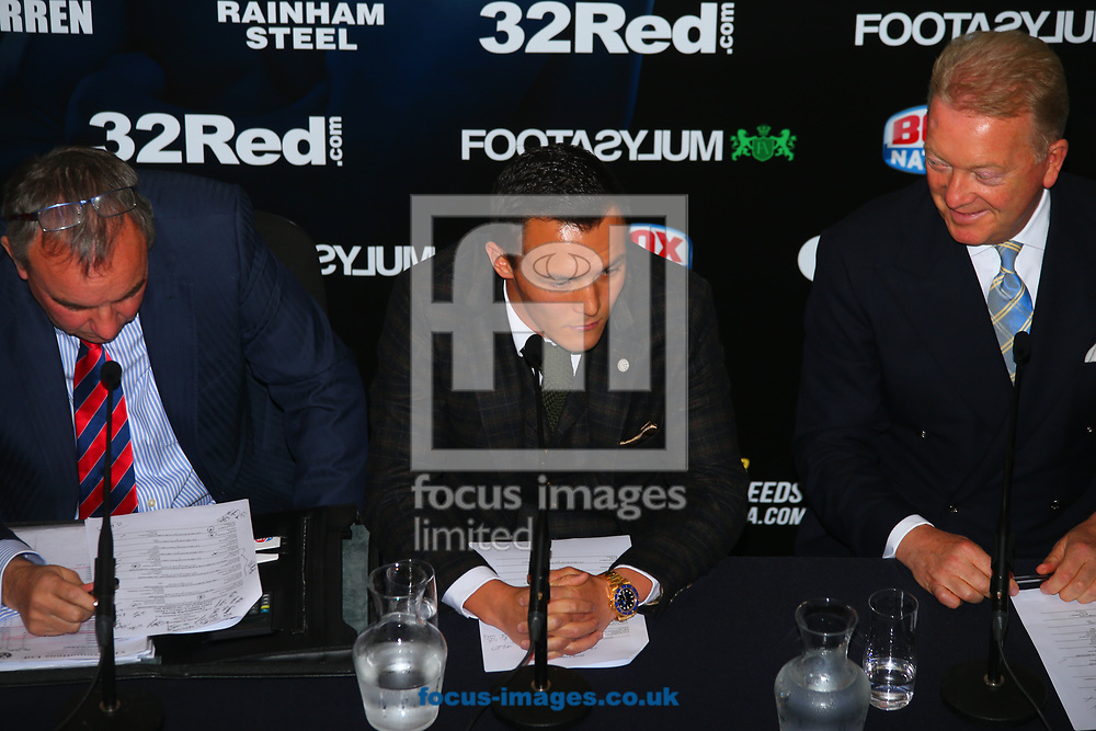 Steve Wood (Manager) , Josh Warrington and Frank Warren (Promotor) during the press conference prior to the Warrington v Ceylan IBF Featherweight World title eliminator contest at Aspire, Leeds, UK.<br /> Picture by Stephen Gaunt/Focus Images Ltd +447904 833202<br /> 04/09/2017