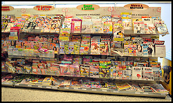 Magazines for sale in a Supermarket, London, Friday February 17,  2012. Photo By Andrew Parsons/i-Images