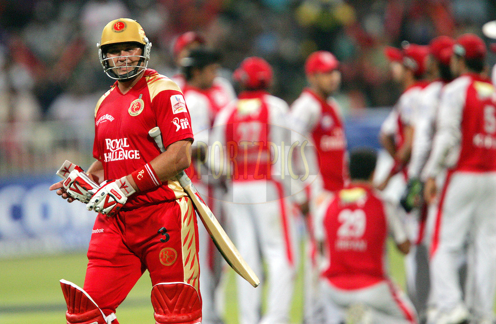DURBAN, SOUTH AFRICA - 24 April 2009. Jacques Kallis leaves the field after being dismissed during the IPL Season 2 match between the Royal Challengers Bangalore and the Kings X1 Punjab held at Sahara Stadium Kingsmead, Durban, South Africa..
