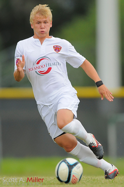 Orlando City midfielder Veneri Valimaa (8) during City's 4-1 win over the Aztex in the PDL Southern Conference Championships final at Trinity Catholic High Schooll on July 22, 2012 in Ocala, Florida. ..©2012 Emily A. Miller