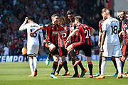 Goal - Ryan Fraser (24) of AFC Bournemouth celebrates scoring a goal to give a 1-0 lead to the home team with Lewis Cook (16) of AFC Bournemouth who do a celebratory dance during the Premier League match between Bournemouth and Swansea City at the Vitality Stadium, Bournemouth, England on 5 May 2018. Picture by Graham Hunt.