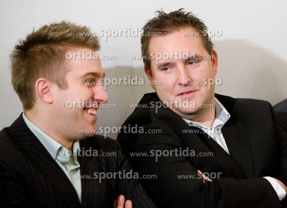 Anze Blazic and Matej Avanzo at press conference when announced that Slovenian national basketball team will play first game in new arena Stozice against National team of Spain, on December 1, 2009,  in City hall, Ljubljana, Slovenia.   (Photo by Vid Ponikvar / Sportida)
