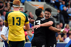 Patelesio Tomkinson of New Zealand U20 is congratulated on his try - Mandatory byline: Patrick Khachfe/JMP - 07966 386802 - 25/06/2016 - RUGBY UNION - AJ Bell Stadium - Manchester, England - Australia U20 v New Zealand U20 - World Rugby U20 Championship 2016 5th Place Play-Off.