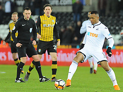 Jordan Ayew of Swansea City in action- Mandatory by-line: Nizaam Jones/JMP - 27/02/2018 - FOOTBALL - Liberty Stadium - Swansea, Wales-Swansea City v Sheffield Wednesday - Emirates FA Cup fifth round proper