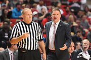 LUBBOCK, TX - DECEMBER 29: Head coach Chris Beard of the Texas Tech Red Raiders discusses a call with an official during the game against the Texas Tech Red Raiders on December 29, 2017 at United Supermarket Arena in Lubbock, Texas. Texas Tech defeated Baylor 77-53. (Photo by John Weast/Getty Images) *** Local Caption *** Chris Beard