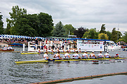 Henley on Thames, England, United Kingdom 6th July 2019, Semi Final, Ladies Challenge Plate, Hollandia Roeiclub NED, setting new Course and stage records in their win over Leander  Club, Henley Royal Regatta  on Henley Reach, [© Peter SPURRIER/Intersport Image]<br /><br />14:39:52 1919 - 2019, Royal Henley Peace Regatta Centenary,
