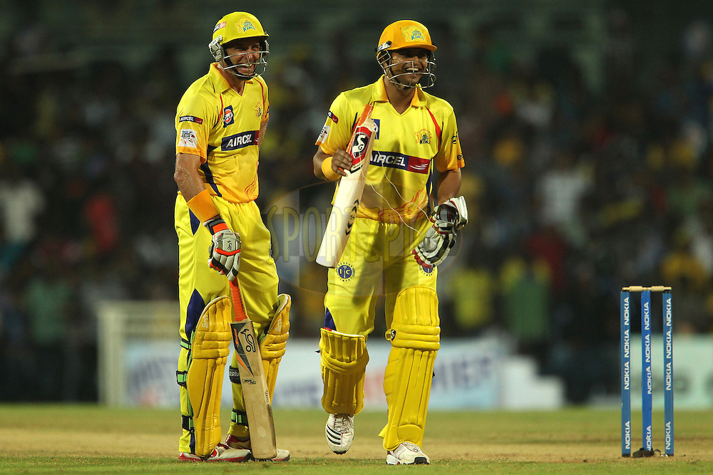 Michael Hussey and Suresh Raina laugh at the broken bat during match 3 of the NOKIA Champions League T20 ( CLT20 )between the Chennai Superkings and the Mumbai Indians held at the M. A. Chidambaram Stadium in Chennai , Tamil Nadu, India on the 24th September 2011..Photo by Ron Gaunt/BCCI/SPORTZPICS