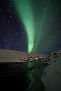 Aurora Borealis at Laxá in Kjós, south west Iceland. Laxá in Kjós is among the best salmon rivers in Iceland