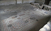 Floor mosaic, Chedworth Roman villa, near Cirencester, Gloucestershire, England