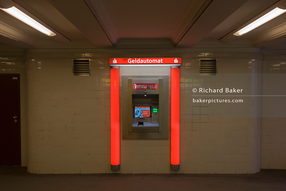 A cash dispenser in a U-Bahn station of Seestrasse in Wedding, a north-western district of Berlin.