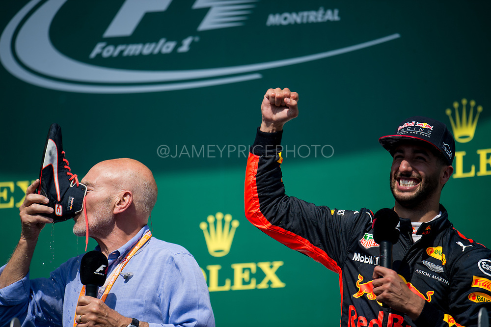 June 8-11, 2017: Canadian Grand Prix. Sir Patrick Stewart does a shoey from Daniel Ricciardo\s race boot.