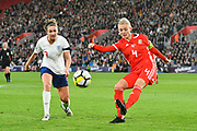 Sophie Ingle (4) of Wales clears the ball during the FIFA Women's World Cup UEFA Qualifier match between England Ladies and Wales Women at the St Mary's Stadium, Southampton, England on 6 April 2018. Picture by Graham Hunt.