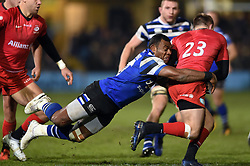 Semesa Rokoduguni of Bath Rugby tackles Nick Tompkins of Saracens - Mandatory byline: Patrick Khachfe/JMP - 07966 386802 - 29/11/2019 - RUGBY UNION - The Recreation Ground - Bath, England - Bath Rugby v Saracens - Gallagher Premiership
