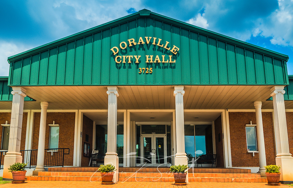 Doraville City Hall is pictured in Doraville, Georgia, May 28, 2014. The city was incorporated in 1871 to meet the needs of the farming community. Today, Doraville boasts one of the largest Asian populations in the country and is home to many Latin American immigrants. Of the 8,330 people living in Doraville at the time of the 2010 Census, 56 percent listed a language other than English as their native tongue. (Photo by Carmen K. Sisson/Cloudybright)