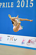 Minagawa Kaho of Japan competes during Individual qualification of ball in the World Cup at Adriatic Arena on April 10, 2015 in Pesaro, Italy. Kaho was born on August 20,1997 in Chiba Prefecture, Japan