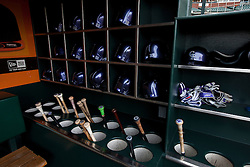 SAN FRANCISCO, CA - APRIL 11:  General view of baseball helmet and bats in the Colorado Rockies before the game against the San Francisco Giants at AT&T Park on April 11, 2014 in San Francisco, California.  The San Francisco Giants defeated the Colorado Rockies 6-5. (Photo by Jason O. Watson/Getty Images) *** Local Caption ***