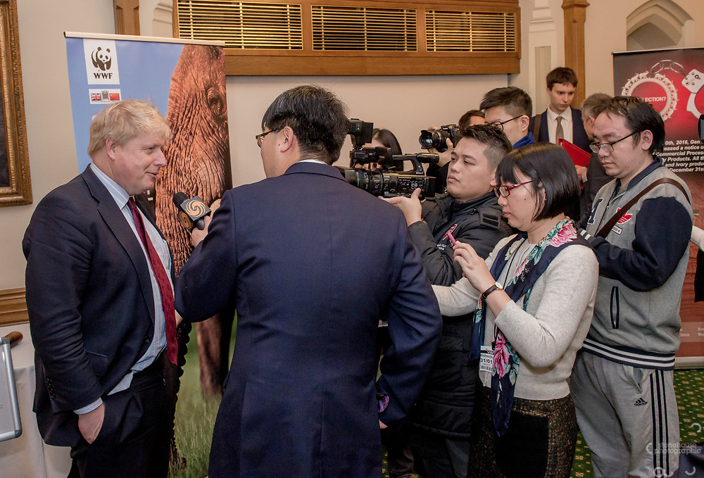 Boris Johnson speaks with media during the Chinese Embassy and WWF-UK's reception to mark the closure of China's domestic Ivory Market, Churchill room, Palace of Westminster, London.<br /> Hosted by Mr Richard Graham MP.<br /> <br /> 31st January, 2018.