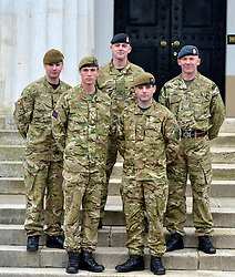 ***UNDER STRICT EMBARGO UNTIL 00:01 22nd MARCH 2013 *** © Licensed to London News Pictures. 21/03/2013. Sandhurst, UK. Military Cross recipients (LEFT TO RIGHT) LANCE-CORPORAL LAWRENCE KAYSER OF THE ROYAL ANGLICAN REGIMENT. CAPTAIN MICHAEL DOBBIN OF THE GRENADIER GUARDS. LANCE-CORPORAL STEPHEN SHAW OF THE ROYAL MEDICAL CORPS. CAPTAIN JOHN SCARLETT OF THE COLDSTREAM GUARDS. SERGEANT ROY GEDDES OF THE ROYAL AIRFORCE. Recipients of honours at a media facility today 21/03/13 at the Royal Military Academy, Sandhurst, ahead of the publication of the full 'operational honours list 40' to be published in the London Gazette on Friday March 22nd 2013.  Photo credit : Stephen Simpson/LNP