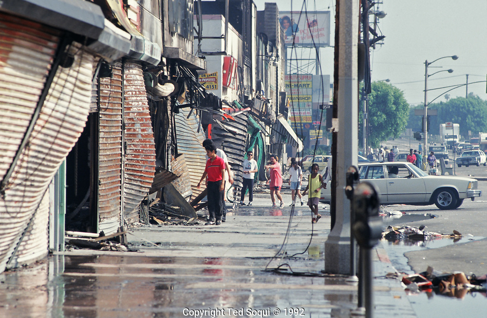 Several businesses looted and burn by rioters in South Central Los Angeles.