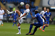 Steve Morison of Millwall (l) and Sol Bamba of Cardiff City (r) in action. EFL Skybet championship match, Cardiff city v Millwall at the Cardiff city stadium in Cardiff, South Wales on Saturday 28th October 2017.<br /> pic by Andrew Orchard, Andrew Orchard sports photography.