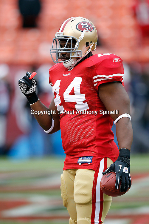 San Francisco 49ers fullback Moran Norris (44) looks on during the NFL week 17 football game against the Arizona Cardinals on Sunday, January 2, 2011 in San Francisco, California. The 49ers won the game 38-7. (©Paul Anthony Spinelli)