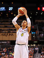 Aug 20, 2010; Phoenix, AZ, USA; Phoenix Mercury forward Candice Durpee (4) shoots a free throw against Seattle Storm at US Airways Center. The Storm defeated the Mercury 78-73.  Mandatory Credit: Jennifer Stewart-US PRESSWIRE