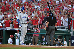 October 7, 2017 - Washington, DC, USA - The Chicago Cubs' Anthony Rizzo throws his bat after striking out in the first inning against the Washington Nationals during Game 2 of the National League Division Series at Nationals Park in Washington, D.C., on Saturday, Oct. 7, 2017. (Credit Image: © Chris Sweda/TNS via ZUMA Wire)
