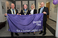 Galway City celebrates purple flag status...<br /> Galway City Council hosted a mayoral reception to celebrate Galway's designation as a Purple Flag City. The city was awarded Purple Flag status earlier this year, following a rigorous application process, in recognition of its safe, vibrant and well-managed town centre in the evening and at night.<br /> Purple Flag is an international accreditation scheme for town and city centres. It is run through the Association of Town and City Management (ATCM) and is the &ldquo;gold standard&rdquo; for night time destinations. A judging panel visited the city last December and, over a 12 hour period from 5 pm &ndash; 5 am, assessed the city using 30 different criteria, including safety, appropriate transport, available services, use of public spaces and vibrant appeal. A comprehensive application form was also submitted. Galway City passed all 30 criteria of the accreditation procedure with commendations. In particular, the city was praised was praised for strong evidence of leadership and business engagement.  Frank Greene, President Chamber of Commerce, Mayor of Galway Cllr. Donal Lyons, Maeve Joyce Galway Chamber of Commerce and Brendan McGrath - Chief Executive of Galway City Council <br />  Photo:Andrew Downes, XPOSURE